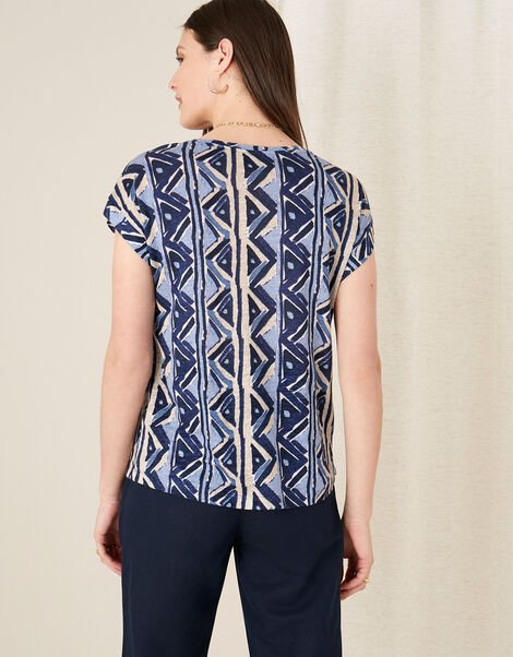 Berta Printed Top in Pure Linen Blue, Blue (NAVY), large