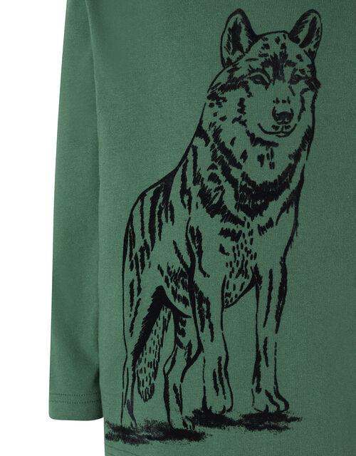 Wolf Print Long Sleeve T-Shirt in Organic Cotton, Green (GREEN), large