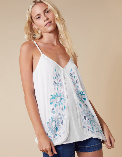 Floral Embroidered Cami in LENZING™ ECOVERO™, Ivory (IVORY), large