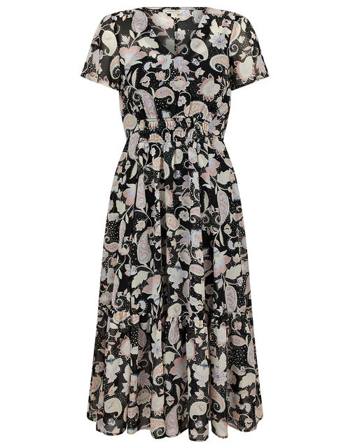 Paisley Print Midi Dress, Black (BLACK), large