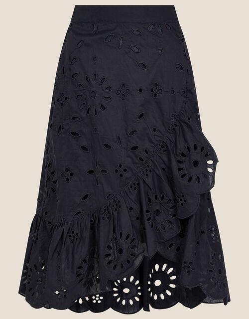 Schiffli Wrap Skirt, Black (BLACK), large