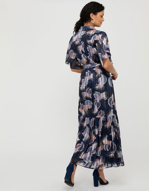 Birdie Print Burnout Pleated Shirt Dress, Blue (NAVY), large