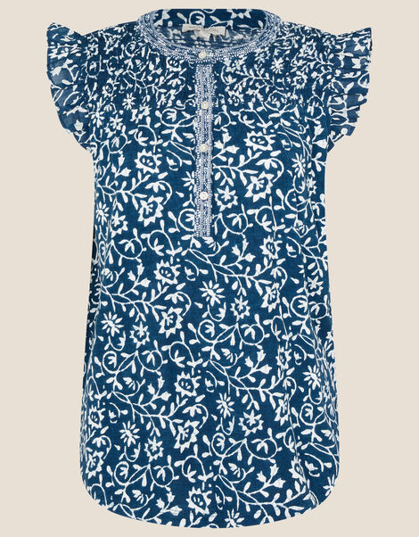 Bailey Batik Print Top Blue, Blue (NAVY), large