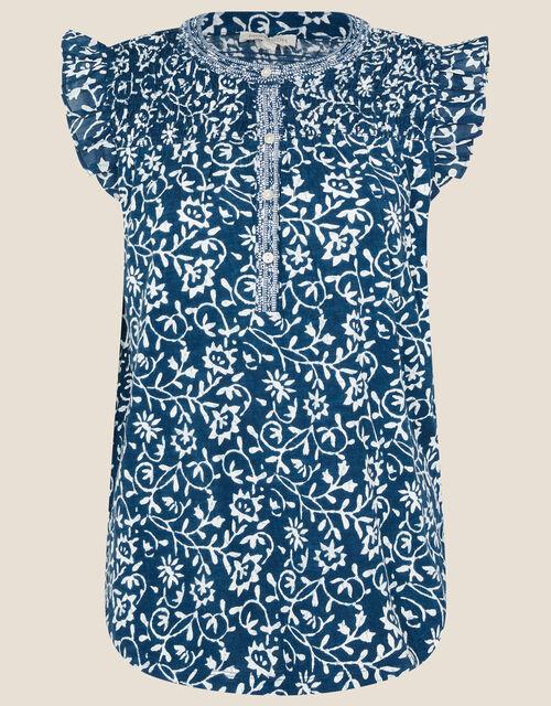 Bailey Batik Print Top, Blue (NAVY), large