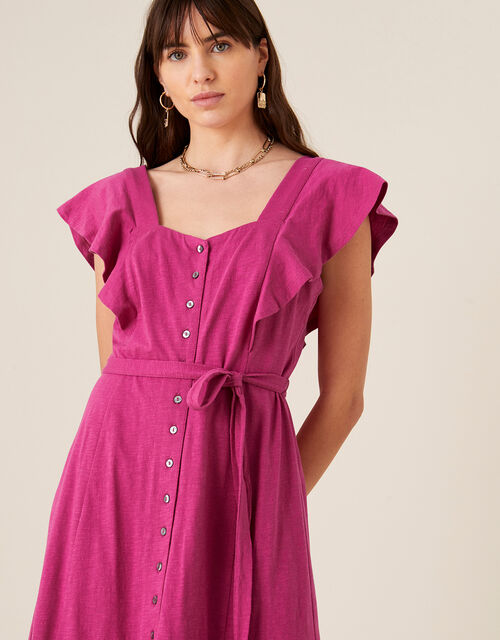 Fia Button Frill Jersey Dress, Pink (PINK), large
