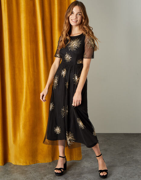 Edie Starburst Embellished Dress Black, Black (BLACK), large