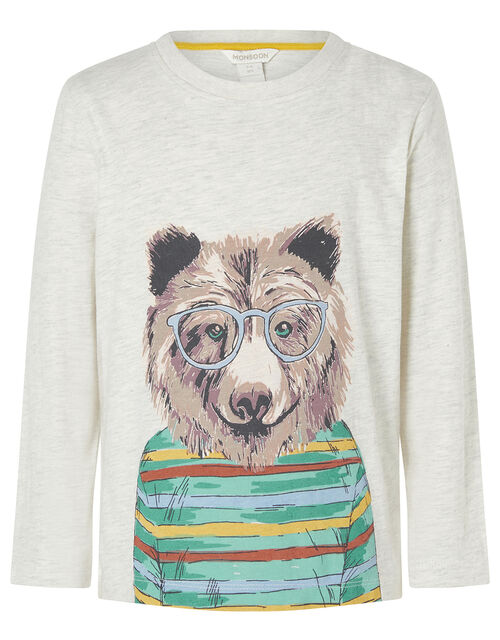 Bear Print Sweatshirt, Grey (GREY), large