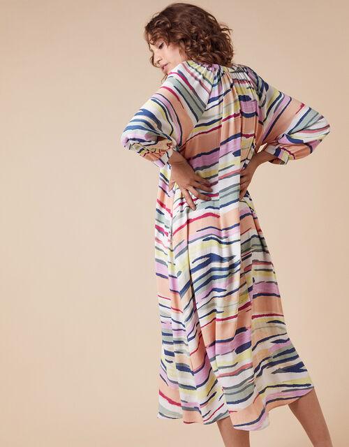 Pastel Stripe Midi Dress in Sustainable Viscose, Ivory (IVORY), large
