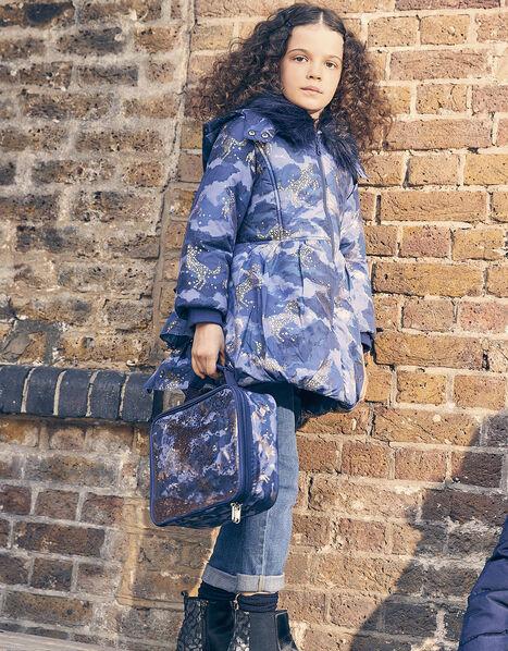 Foil Unicorn Padded Coat Blue, Blue (NAVY), large