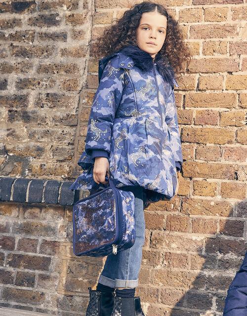Foil Unicorn Padded Coat, Blue (NAVY), large