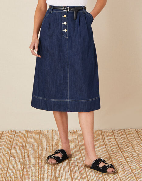 Denim Midi Skirt in Organic Cotton  Blue, Blue (INDIGO), large