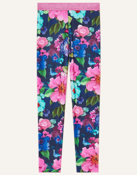 Rose Print Leggings Blue, Blue (NAVY), large