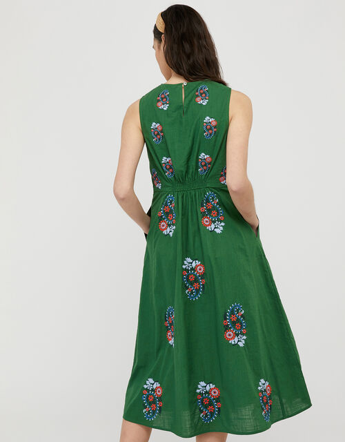 Etti Embroidered Dress with Organic Cotton, Green (GREEN), large