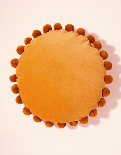 Pom-Pom Trim Velvet Round Cushion, , large