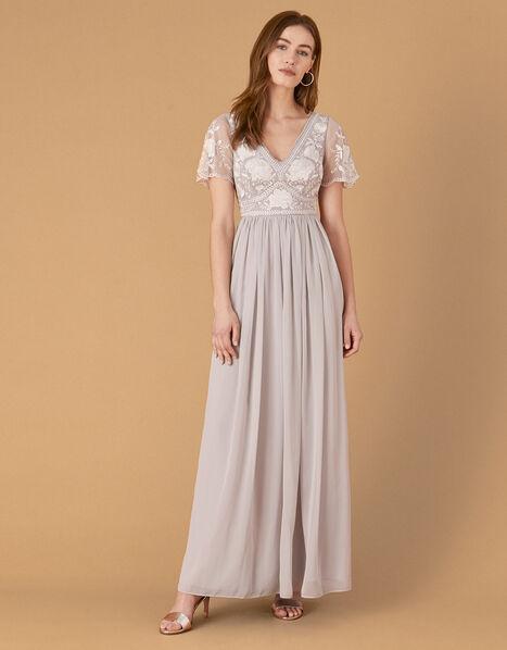Daphnee Embroidered Maxi Dress Grey, Grey (GREY), large