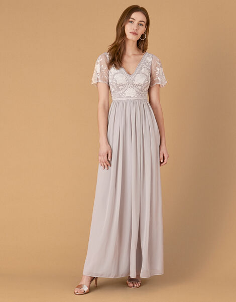 Daphnee Embroidered Maxi Dress Grey, Grey (GREY), large