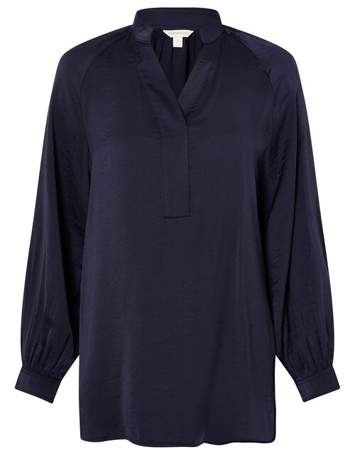 Long Sleeve Satin Blouse, Blue (NAVY), large