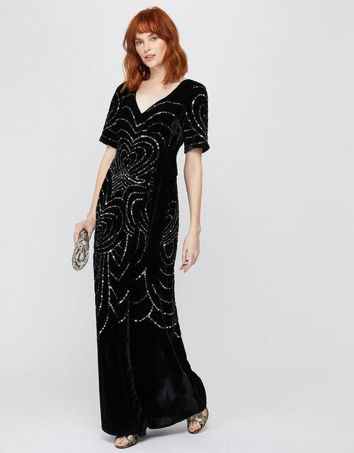 Hanna Embellished Velvet Maxi Dress, Black (BLACK), large