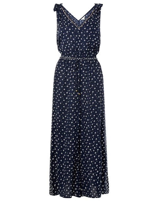 Ditsy Print Jumpsuit in LENZING™ ECOVERO™, Blue (NAVY), large