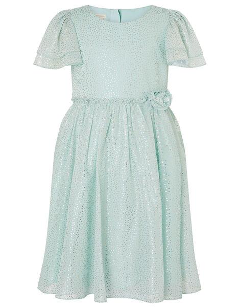 Foil Spot Flutter Sleeve Dress Green, Green (MINT), large