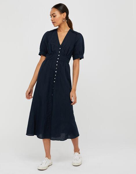 Midi Tea Dress in Linen Blend Blue, Blue (NAVY), large