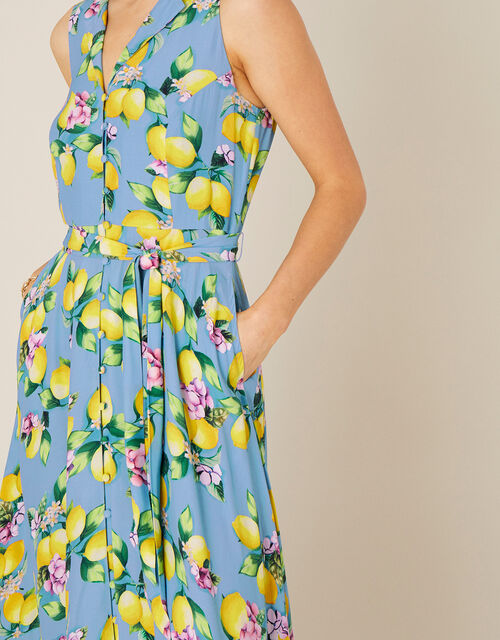 Libra Lemon Midi Dress, Blue (BLUE), large