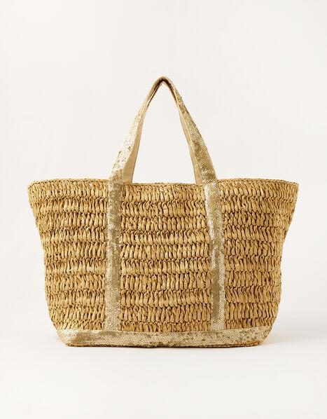 Sable Sequin Shopper Bag Natural, Natural (NATURAL), large