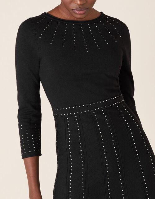 Heat-Seal Gem Knit Midi Dress, Black (BLACK), large