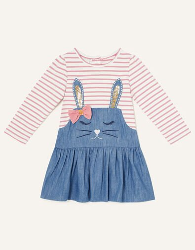 Baby Sequin Bunny Chambray Dress Pink, Pink (PINK), large