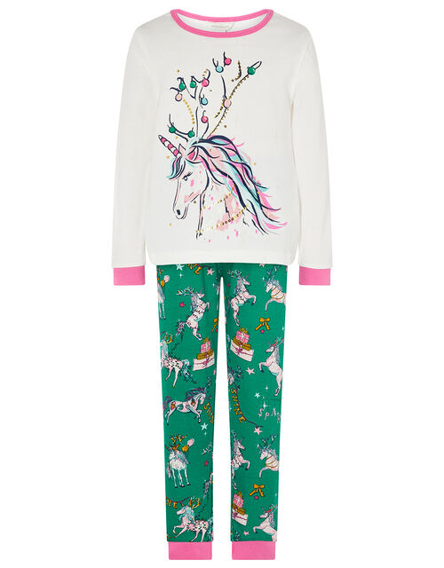 XMAS Sequin Unicorn Jersey Pyjama Set, Green (GREEN), large