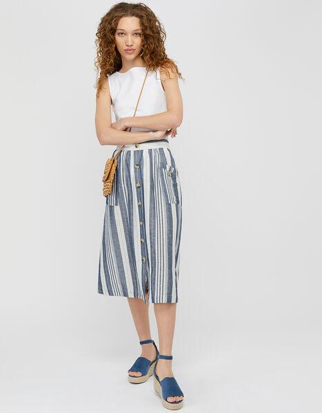 Tonya Stripe Skirt in Linen and Organic Cotton Blue, Blue (BLUE), large