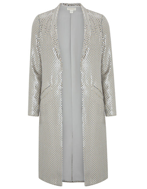 Kristina Sequin Duster Jacket, Silver, large
