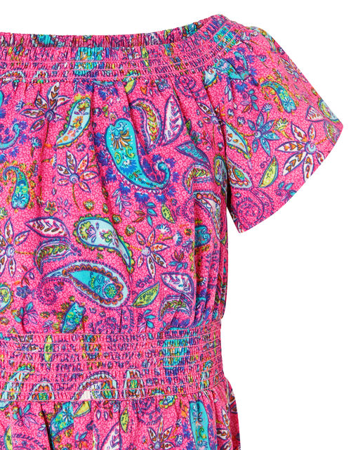 Paisley Shirred Jumpsuit, Pink (PINK), large