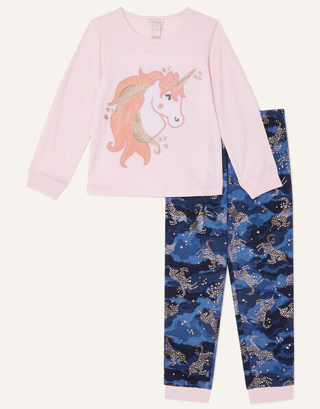 Nova Midnight Unicorn Pyjama Set Blue, Blue (NAVY), large