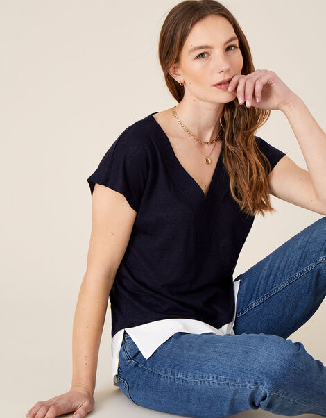 Lenny Woven Mix Top in Linen Blend Blue, Blue (NAVY), large