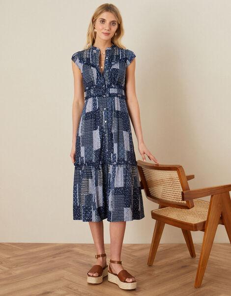 Patchwork Print Midi Dress Blue, Blue (NAVY), large