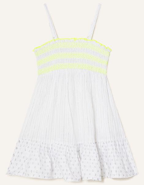 Dobby Shirred Beach Dress Ivory, Ivory (IVORY), large