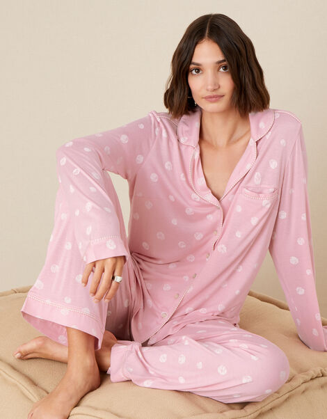 Spot Print Pyjama Trousers Pink, Pink (PINK), large