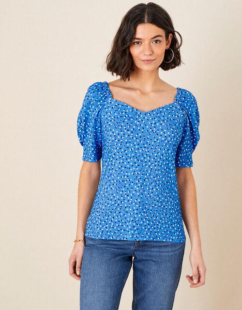 Billy Spot Print Jersey Top, Blue (BLUE), large