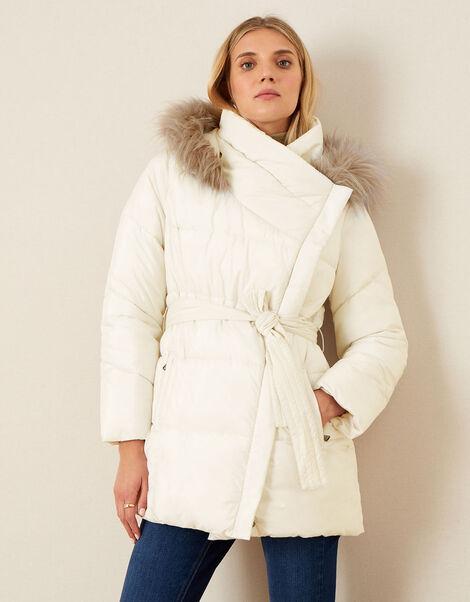 Padded Faux Fur Hooded Coat White, White (WHITE), large