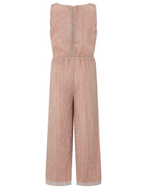 Rose Gold Shimmer Pleated Jumpsuit, Pink (PINK), large