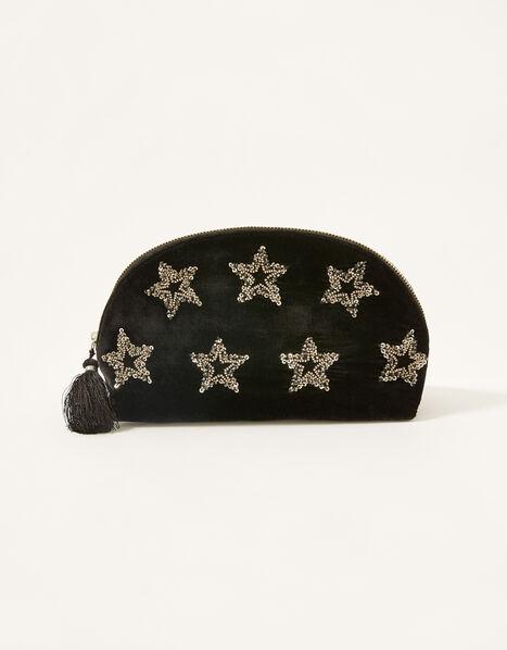 Star Embellished Velvet Makeup Bag , , large