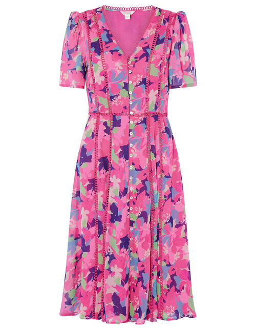 Aluna Floral Dress in Sustainable Viscose, Pink (PINK), large
