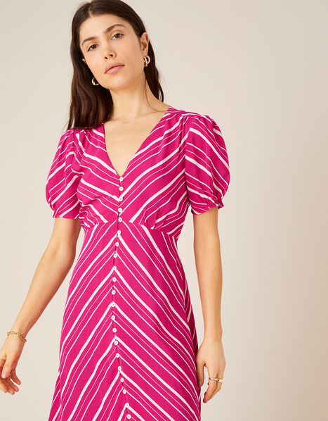Narla Stripe Print Midi Dress  Red, Red (BERRY), large