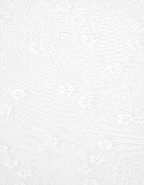 Girls Flower Lacy Baroque Tights, Ivory (IVORY), large