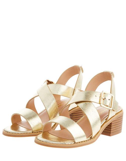 Metallic Strap Heeled Sandals, Gold (GOLD), large