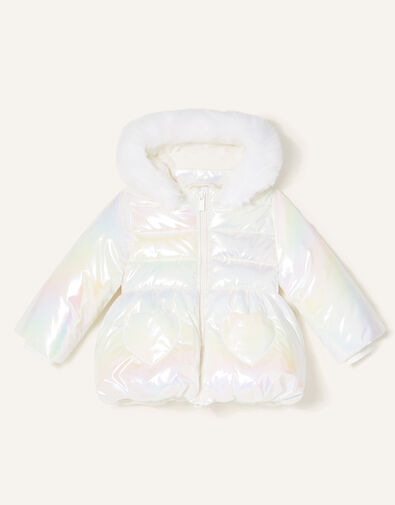 Baby Heart Pocket Holographic Coat Ivory, Ivory (IVORY), large