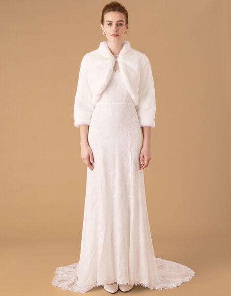 Maria Faux Fur Bridal Jacket Ivory, Ivory (IVORY), large
