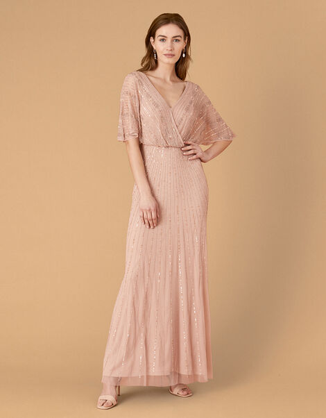 Alex Embellished Wrap Maxi Dress  Pink, Pink (PINK), large