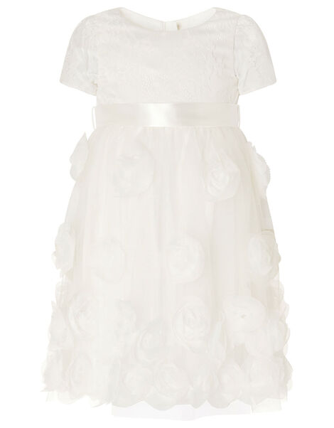 Baby Lace and 3D Rose Christening Dress White, White (WHITE), large